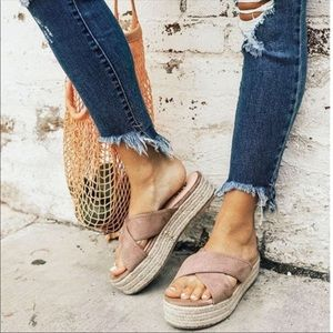Shoes - Taupe Criss Cross Slip On Espadrille Sandal